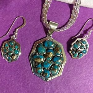 Nwt!Sterling and turquoise necklace set 18 in